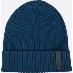 Calvin Klein Jeans - Czapka. Niebieskie czapki zimowe męskie marki Calvin Klein Jeans, na zimę, z bawełny. W wyprzedaży za 89,90 zł.