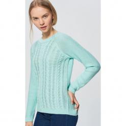Lekki sweter z warkoczowym splotem - Turkusowy. Niebieskie swetry klasyczne damskie Cropp, l, ze splotem. Za 69,99 zł.
