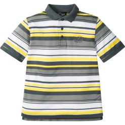 Koszulki polo: Shirt polo w paski bonprix szaro-żółto-biały w paski