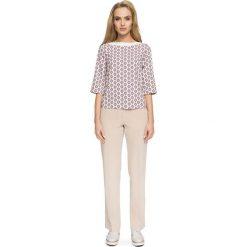 Prosta Kolorowa Bluzka z Nowoczesnymi Detalami - Model 3. Brązowe bluzki longsleeves marki Molly.pl, l, w kolorowe wzory, z jeansu. Za 108,90 zł.