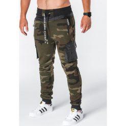 SPODNIE MĘSKIE DRESOWE P645 - MORO. Szare spodnie dresowe męskie marki Ombre Clothing, moro, z bawełny. Za 69,00 zł.