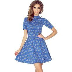 Isabella Sukienka z półgolfem i krótkim rękawkiem - JEANS W SERDUSZKA. Niebieskie sukienki mini marki morimia, s, z jeansu, z krótkim rękawem. Za 149,99 zł.