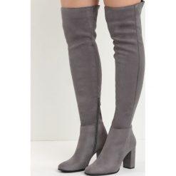 Ciemnoszare Kozaki I Don't Care. Szare buty zimowe damskie Born2be, z materiału, z okrągłym noskiem, za kolano, na wysokim obcasie, na obcasie. Za 139,99 zł.