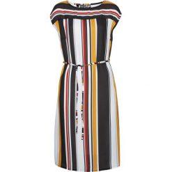 Sukienka w paski z wiązanym paskiem bonprix biel wełny w kolorowe paski. Białe sukienki z falbanami bonprix, w kolorowe wzory, z wełny, proste. Za 89,99 zł.