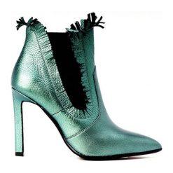 Botki damskie lity: Skórzane botki w kolorze zielonym
