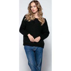 Swetry damskie: Czarny Milutki Sweter z Ażurowymi Wstawkami