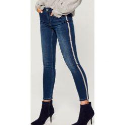 Jeansy skinny high waist z lampasami - Niebieski. Niebieskie jeansy damskie skinny marki House, z jeansu. Za 149,99 zł.