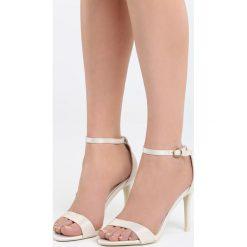 Beżowe Sandały Let Her Know. Brązowe sandały damskie marki Born2be, z materiału, na wysokim obcasie, na obcasie. Za 79,99 zł.