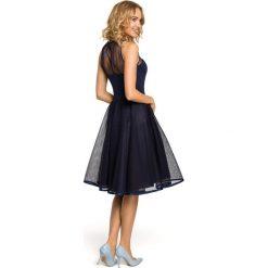 DAISY Wieczorowa sukienka z tiulowym dekoltem - granatowa. Niebieskie sukienki koktajlowe Moe, z tiulu, dopasowane. Za 169,00 zł.