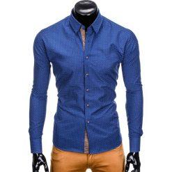 KOSZULA MĘSKA Z DŁUGIM RĘKAWEM K412 - JASNOGRANATOWA. Niebieskie koszule męskie na spinki Ombre Clothing, m, z dzianiny, z kontrastowym kołnierzykiem, z długim rękawem. Za 69,00 zł.