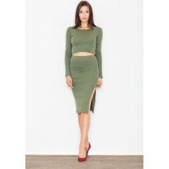 Bluzki damskie: Zielony Dwuczęściowy Komplet Krótka Bluzka + Ołówkowa Midi Spódnica