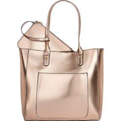 Shopper bag damskie: Torba shopper metaliczna bonprix bladoróżowy metaliczny