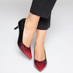 Buty ślubne damskie: Cieniowane czółenka czerwone lakierowane