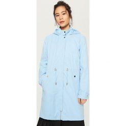 Płaszcze damskie pastelowe: Płaszcz z kapturem – Niebieski