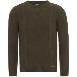 Sweter w kolorze khaki. Brązowe swetry klasyczne męskie Jimmy Sanders, m, ze splotem, z okrągłym kołnierzem. W wyprzedaży za 99,95 zł.