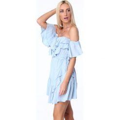 Sukienki: Sukienka z falbanami jasnoniebieska ZZ374
