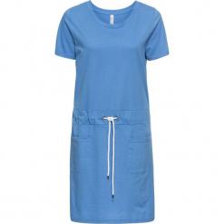 Sukienka dresowa z kolorowym wiązanym paskiem bonprix niebieski. Niebieskie sukienki dresowe marki bonprix, w kolorowe wzory, z krótkim rękawem, mini. Za 37,99 zł.