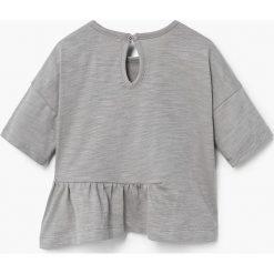 Mango Kids - Top dziecięcy Peru 80-104 cm. Szare bluzki dziewczęce bawełniane Mango Kids, z nadrukiem, z okrągłym kołnierzem. W wyprzedaży za 29,90 zł.