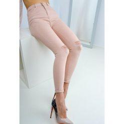 Legginsy: Pastelowe spodnie tregginsy z rozcięciami