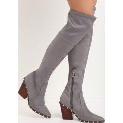 Ciemnoszare Kozaki Something Big. Szare buty zimowe damskie Born2be, z materiału, ze szpiczastym noskiem, na niskim obcasie, na słupku. Za 139,99 zł.