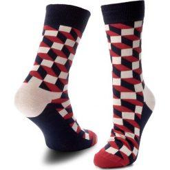 Skarpety Wysokie Unisex HAPPY SOCKS - FO01-068 Czerwony Kolorowy. Czerwone skarpetki męskie marki Happy Socks, z bawełny. Za 34,90 zł.