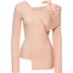 Sweter bonprix bladoróżowy. Szare swetry klasyczne damskie marki Mohito, l, z asymetrycznym kołnierzem. Za 109,99 zł.