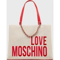 Love Moschino - Torebka. Szare torebki klasyczne damskie marki Love Moschino, z materiału, duże. Za 859,90 zł.