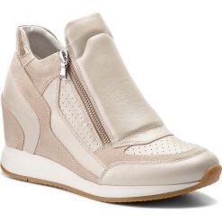 Sneakersy GEOX - D Nydame A D620QA 04422 C2UH6 Platinum/Lt Taupe. Brązowe sneakersy damskie Geox, z materiału. W wyprzedaży za 349,00 zł.