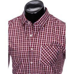 KOSZULA MĘSKA W KRATĘ Z DŁUGIM RĘKAWEM K427 - BORDOWA/BŁĘKITNA. Czerwone koszule męskie na spinki marki Ombre Clothing, m, z długim rękawem. Za 39,99 zł.