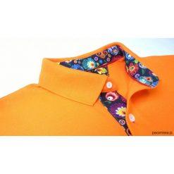 Koszulki męskie: Koszulka polo pomarańczowa z wzorem łowickim