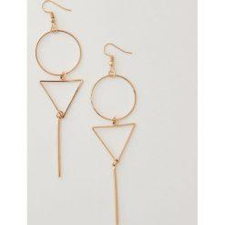 Kolczyki damskie: Duże kolczyki geometryczne – Złoty