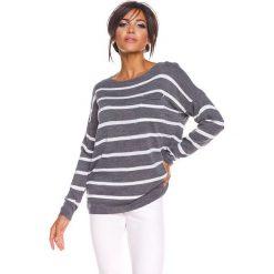 """Sweter """"Jena"""" w kolorze antracytowym. Szare swetry klasyczne damskie marki 100% Maille, s, z dekoltem w łódkę. W wyprzedaży za 108,95 zł."""