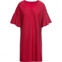 Sukienka z dżerseju z połyskiem bonprix czerwony chili. Niebieskie sukienki z falbanami marki bonprix, z nadrukiem. Za 99,99 zł.