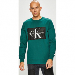 Calvin Klein Jeans - Bluza. Szare bejsbolówki męskie Calvin Klein Jeans, l, z nadrukiem, z bawełny, bez kaptura. Za 399,90 zł.