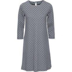 Sukienka bonprix biel wełny - czarny wzorzysty. Białe sukienki mini marki bonprix, z nadrukiem, z wełny, z okrągłym kołnierzem, z krótkim rękawem. Za 89,99 zł.