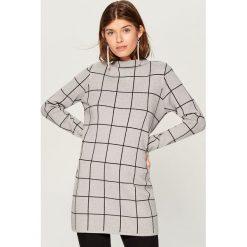 Długi sweter ze stójką - Szary. Szare swetry klasyczne damskie Mohito, l, ze stójką. Za 139,99 zł.