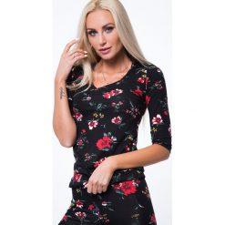 Bluzki asymetryczne: Bluzka w kwiaty rękaw 3/4 czarna 8062
