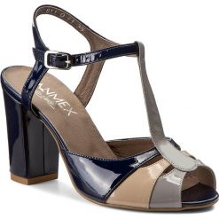 Rzymianki damskie: Sandały ANN MEX – 7835 05LW+02LR+11LJ Beż/Granat