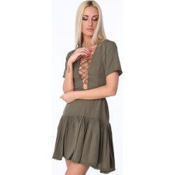 Sukienka z wiązaniem z tyłu khaki ZZ345. Brązowe sukienki Fasardi, m. Za 109,00 zł.