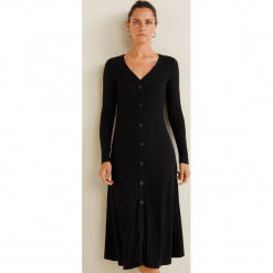 Mango - Sukienka Dance. Szare długie sukienki marki Mango, na co dzień, l, z tkaniny, casualowe, z dekoltem halter, na ramiączkach, rozkloszowane. Za 139,90 zł.