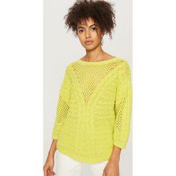 Swetry klasyczne damskie: Sweter z bawełny - Zielony