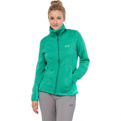 """Kurtka polarowa """"Skyland"""" w kolorze turkusowym. Czarne kurtki damskie marki Jack Wolfskin, w paski, z materiału. W wyprzedaży za 304,95 zł."""