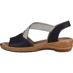 Rzymianki damskie: Skórzane sandały w kolorze granatowo-srebrnym