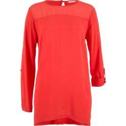 Tunika bluzkowa z asymetrycznym dołem, długi rękaw bonprix czerwony sygnałowy. Czerwone tuniki damskie z długim rękawem bonprix, z wiskozy, z asymetrycznym kołnierzem. Za 59,99 zł.
