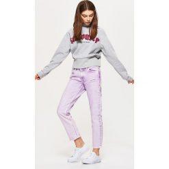 Spodnie z wysokim stanem: Jeansy high waist - Fioletowy