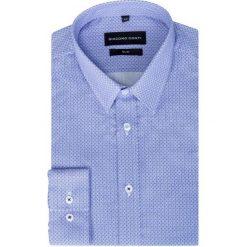 Koszula w koniczynki KDWS000219. Niebieskie koszule męskie na spinki marki bonprix, m, z nadrukiem, z klasycznym kołnierzykiem, z długim rękawem. Za 199,00 zł.