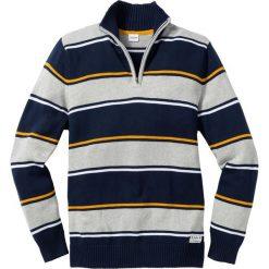 Swetry męskie: Sweter ze stójką Regular Fit bonprix ciemnoniebieski w paski