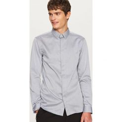 Koszule męskie na spinki: Elegancka koszula slim fit – Jasny szar