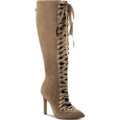 Kozaki R.POLAŃSKI - 0903 Beż Zamsz. Brązowe buty zimowe damskie marki Kazar, ze skóry, przed kolano, na wysokim obcasie. W wyprzedaży za 419,00 zł.