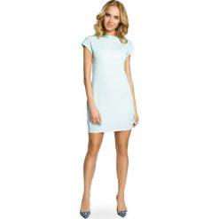 Sukienki balowe: Mini sukienka – tunika ze złotymi ćwiekami – miętowa